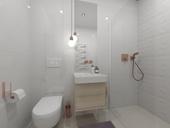 Návrh malé bílé koupelny s 3D obklady Atlas Concorde (Zdroj: Keraservis)
