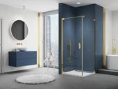 Jednokřídlé dveře s boční stěnou CADURA GOLD LINE v čirém skle, sprchová vanička ILA